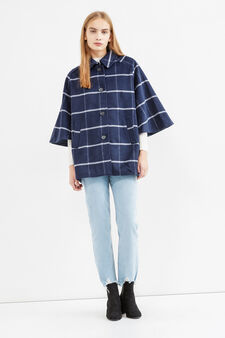 Check coat with batwing sleeves, Blue/Light Blue, hi-res