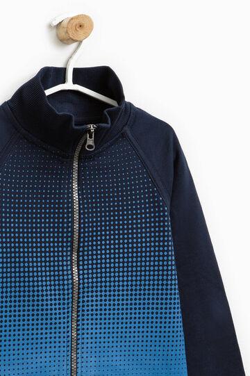 Felpa in puro cotone con stampa camouflage, Blu/Azzurro, hi-res