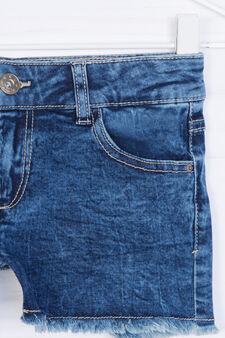 Worn-effect denim shorts, Blue, hi-res