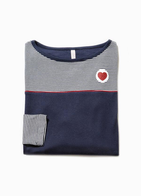 Maglia pigiama a righe con stampa cuore | OVS