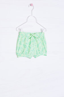Stretch cotton patterned shorts, Green, hi-res