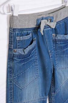 Shorts di jeans con coulisse, Lavaggio chiaro, hi-res