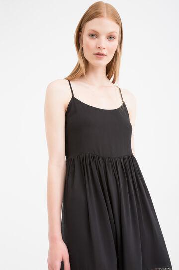 Short sleeveless dress in viscose blend, Black, hi-res