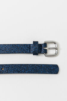 Slim belt with glitter, Navy Blue, hi-res