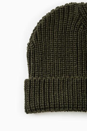 Cappello a cuffia tricot tinta unita, Verde militare, hi-res