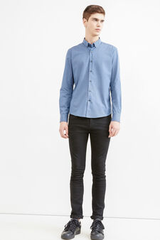 Casual shirt with button down collar, Grey, hi-res