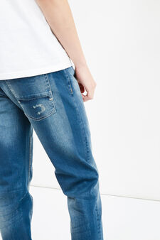 Worn-effect, skinny-fit jeans with abrasions, Dark Wash, hi-res
