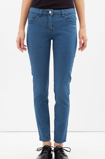 Stretch jeans with white micro dots, Denim Blue, hi-res