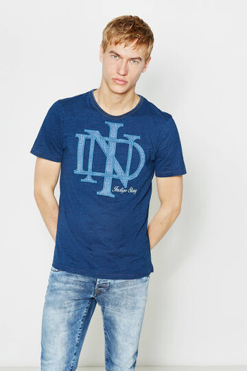 T-shirt in cotone con stampa lettering, Blu denim, hi-res