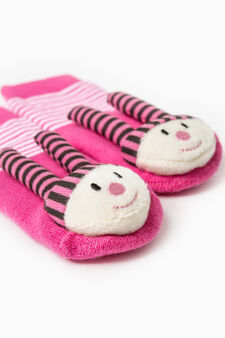 Stretch striped slipper socks, Fuchsia, hi-res