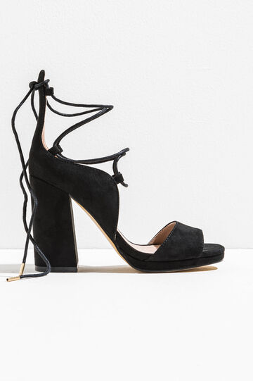 Sandali con tacco e laccetti, Nero, hi-res