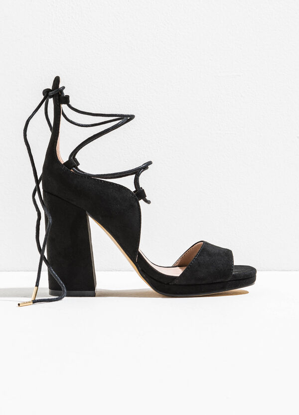 Sandals with heel and laces | OVS