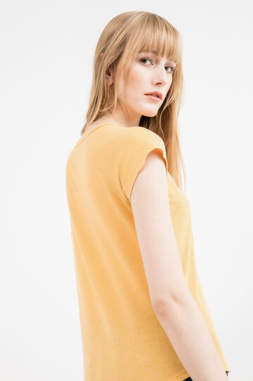 100% cotton T-shirt with raglan sleeves, Yellow, hi-res