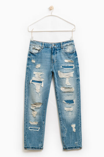Worn-effect, ripped jeans, Soft Blue, hi-res