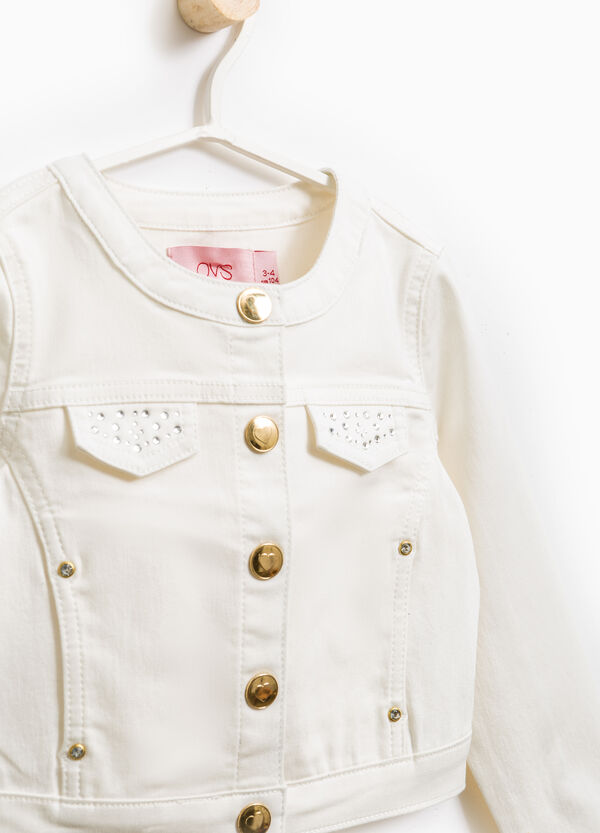 Jacket with chest pockets and diamantés | OVS