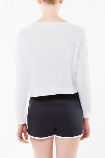 Short T-shirt with long sleeves., White, hi-res