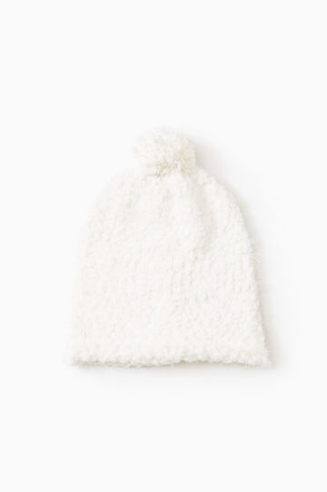 Beanie cap with pompom, White, hi-res