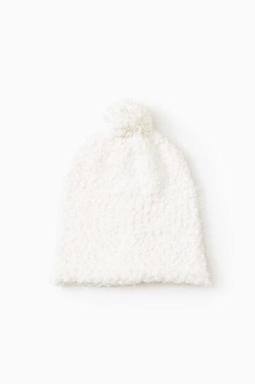 Cappello a cuffia con pon pon, Bianco, hi-res