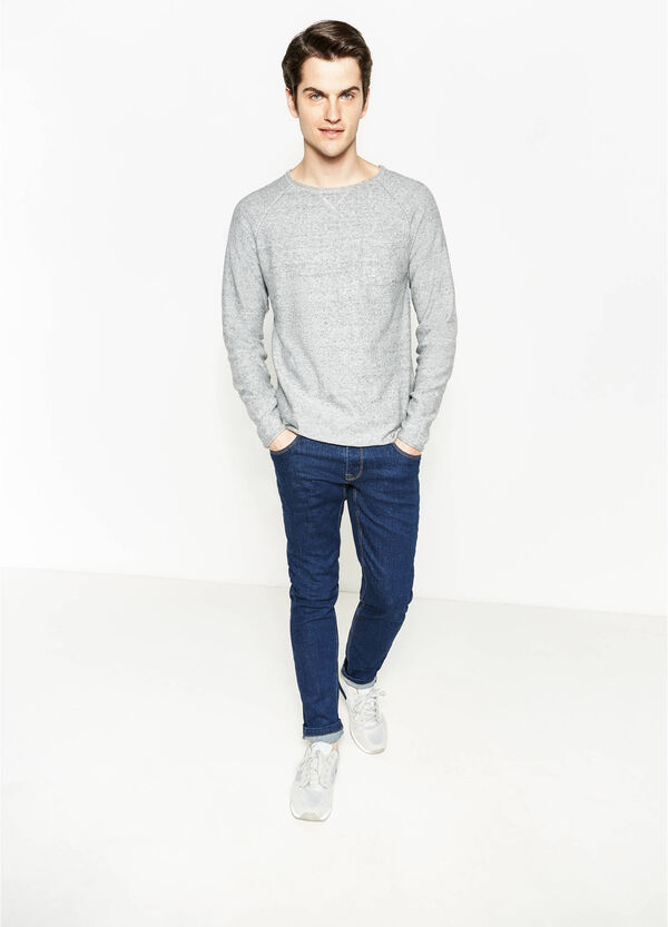 Cotton mélange pullover with pocket | OVS