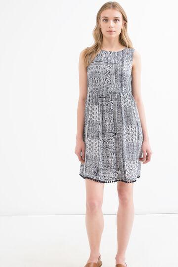 Printed dress in 100% viscose, Blue, hi-res