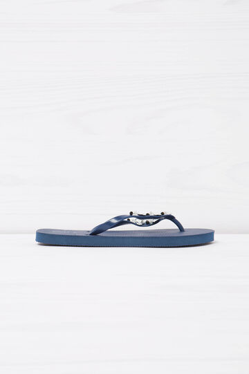 Solid colour thong sandal with diamanté detail, Navy Blue, hi-res