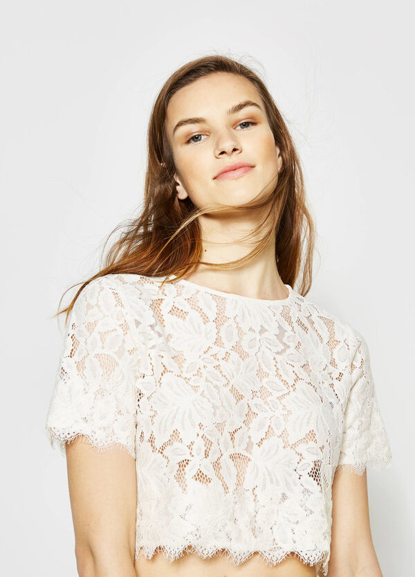Lace crop blouse | OVS