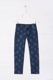 Printed cotton blend jeggings, Denim Blue, hi-res