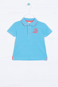 100% cotton embroidered polo shirt, Turquoise Blue, hi-res