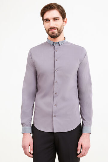 Custom-fit stretch formal shirt, Grey, hi-res
