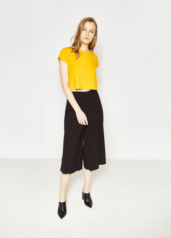 Round neck crop T-shirt | OVS