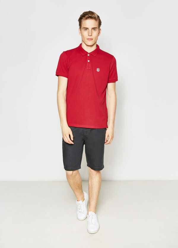 Polo shirt with embroidery on chest | OVS