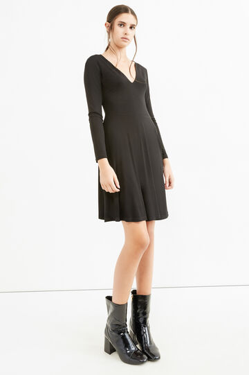 Solid colour V-neck dress, Black, hi-res