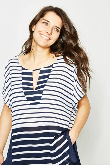 Curvy long blouse with striped print