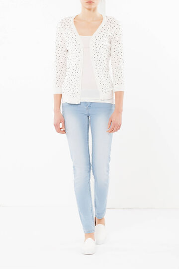 Polka dot cardigan, White, hi-res