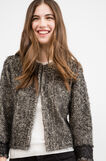 Cotton blend cardigan with shaggy insert., Black/White, hi-res