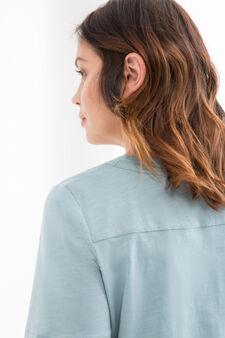 Curvy 100% cotton T-shirt, Aqua Blue, hi-res