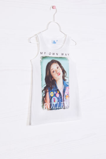 T-shirt in stretch cotton with Soy Luna print, White, hi-res