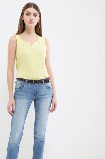 100% cotton top with studs, Yellow, hi-res
