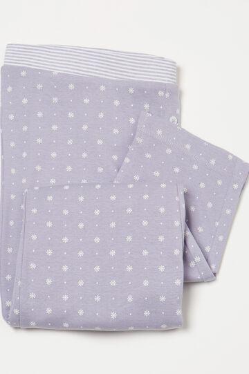 Pantaloni pigiama cotone fantasia, Viola lilla, hi-res