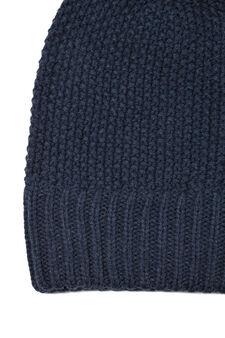 Knitted beanie cap, Blue Marl, hi-res