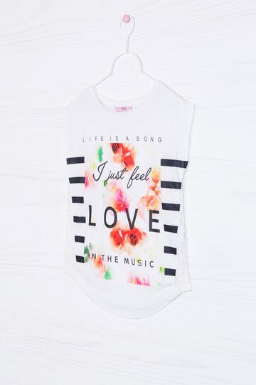 Printed sleeved T-shirt, White, hi-res