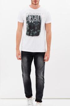 T-shirt girocollo puro cotone, Bianco ghiaccio, hi-res
