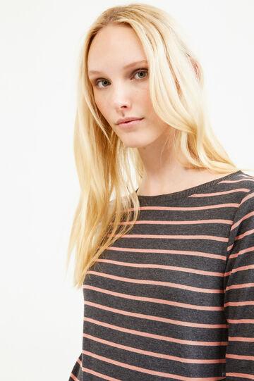 T-shirt girocollo rigata maniche lunghe, Grigio/Rosa, hi-res