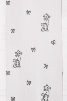 Tights with cat and bows print, White, hi-res