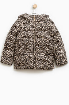 Down jacket with animal print, White/Brown, hi-res