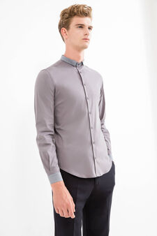 Camicia formale custom fit stretch, Grigio, hi-res