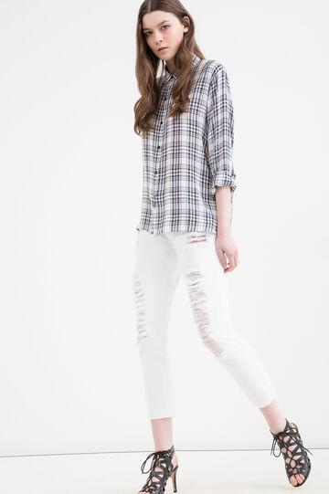 Ripped boyfriend jeans, White, hi-res
