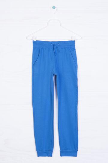 Pantaloni cotone e viscosa tinta unita, Azzurro, hi-res