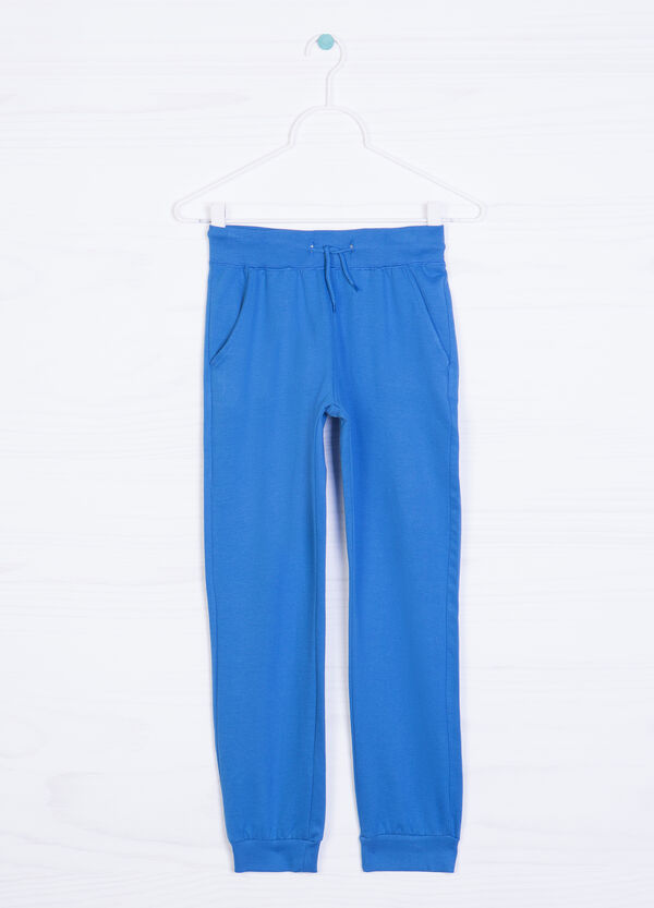 Solid colour cotton and viscose trousers | OVS