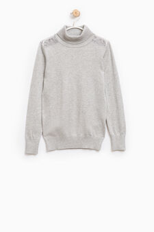 Cotton and viscose pullover with lace, Light Grey, hi-res